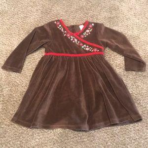 Baby Gap girls velvet brown dress
